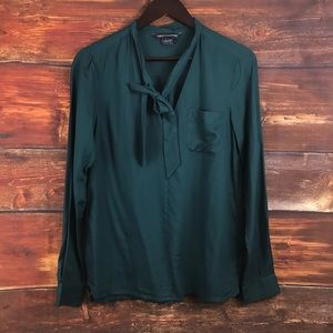 French connection blouse long sleeve teal